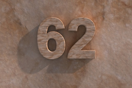 The number 62 embossed or carved from marble placed on a matching marble base