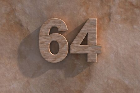 mottled: 3d rendered illustration of an ornamental 64 in numerals in mottled sandstone on a rough textured wall with shadow