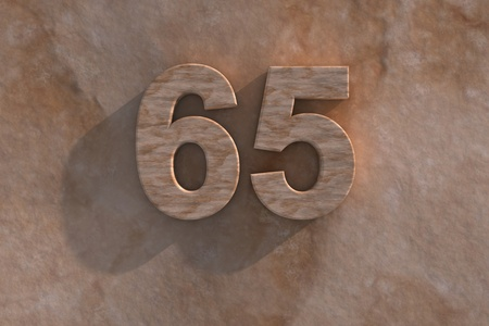 65th: 3d rendered illustration of an ornamental 65 in numerals in mottled sandstone on a rough textured wall with shadow Stock Photo