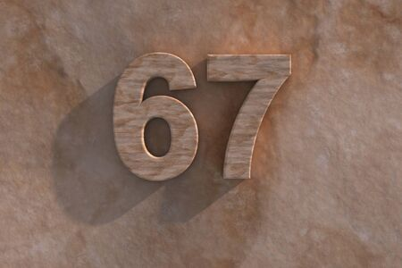 mottled: 3d rendered illustration of an ornamental 67 in numerals in mottled sandstone on a rough textured wall with shadow
