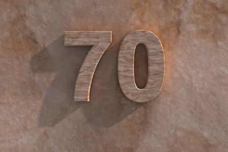 seventieth: 3d rendered illustration of an ornamental 70 in numerals in mottled sandstone on a rough textured wall with shadow Stock Photo