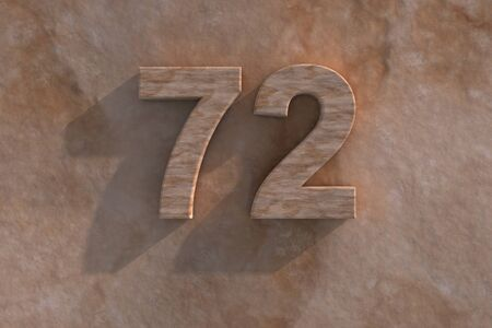 mottled: 3d rendered illustration of an ornamental 72 in numerals in mottled sandstone on a rough textured wall with shadow Stock Photo