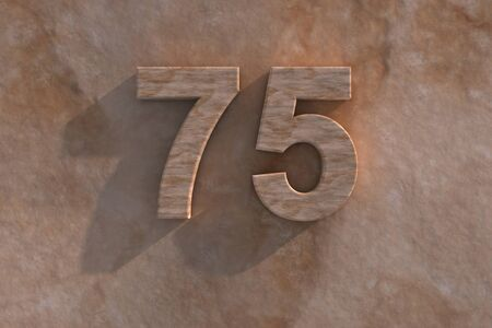 mottled: 3d rendered illustration of an ornamental 75 in numerals in mottled sandstone on a rough textured wall with shadow Stock Photo