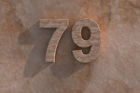 ninth birthday: 3d rendered illustration of ornamental 79 in numerals in mottled sandstone on a rough textured wall with shadow Stock Photo
