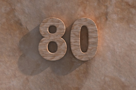 Number 80 embossed or carved from marble placed on a matching marble base