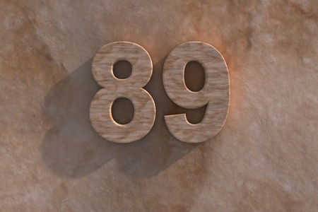 eighty: Number 89 embossed or carved from marble placed on a matching marble base Stock Photo