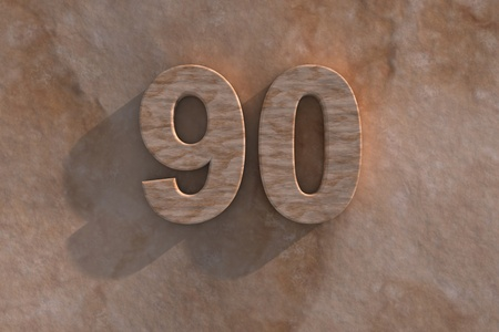 ninety: Number 90 embossed or carved from marble placed on a matching marble base