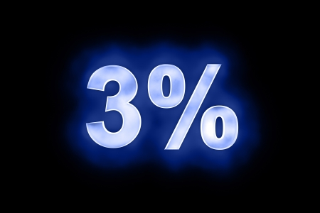 3d illustration of 3 percent in glowing mottled white numerals on a blue background with a black surround Stock Illustration - 13663619