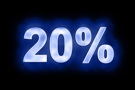 mottled: 3d illustration of 20 percent in glowing mottled white numerals on a blue background with a black surround