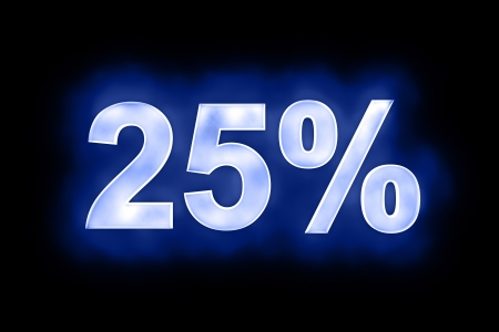 3d illustration of 25 percent in glowing mottled white numerals on a blue background with a black surround Stock Illustration - 13663632