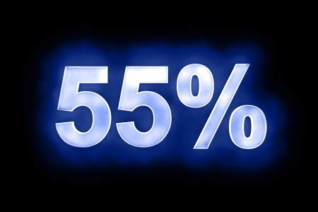 mottled: 3d illustration of 55 percent in glowing mottled white numerals on a blue background with a black surround Stock Photo