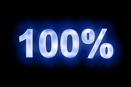mottled: 3d illustration of 100 percent in glowing mottled white numerals on a blue background with a black surround
