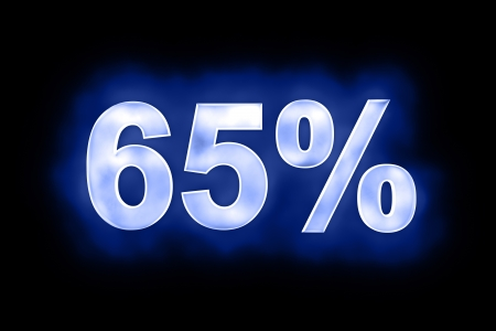 mottled: 3d illustration of 65 percent in glowing mottled white numerals on a blue background with a black surround Stock Photo