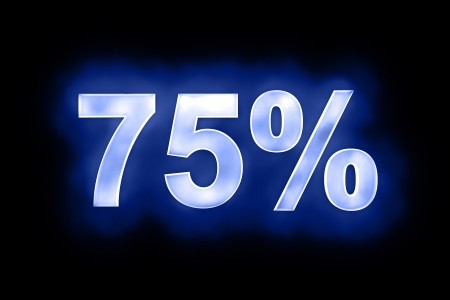 3d illustration of 75 percent in glowing mottled white numerals on a blue background with a black surround