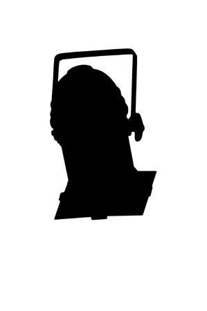 bracket: Outline silhouette of a stage light with a bracket mounting pointing downwards