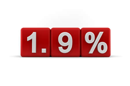 3d illustration of 1 9 percent embossed in raised white numbers on red cubes on a white studio background Stock Illustration - 14085501