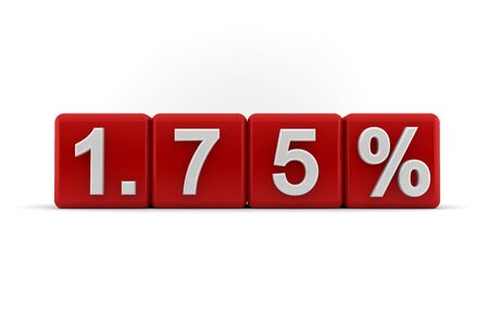 embossed: 3d illustration of 1 75 percent or one and three-quarter percent embossed in raised white numbers on red cubes on a white studio background Stock Photo