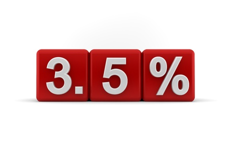 3d illustration of 3 5 percent or three and a half percent embossed in raised white numbers on a line of red cubes on a white studio background illustration