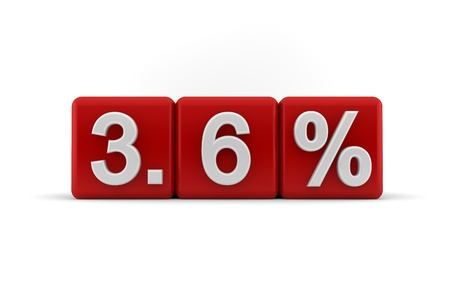 six point: 3d illustration of 3 6 percent embossed in raised white numbers on a line of red cubes on a white studio background Stock Photo