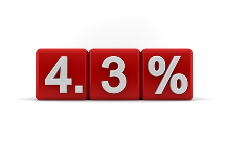 3d illustration of 4 3 percent embossed in raised white numbers on a line of red cubes on a white studio background illustration