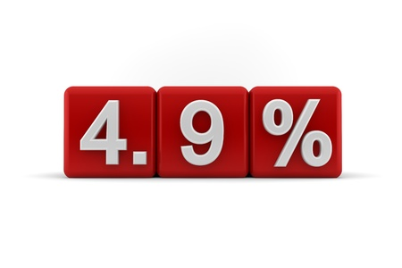 proportional: 3d illustration of 4 9 percent embossed in raised white numbers on a line of red cubes on a white studio background
