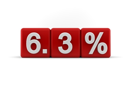 six point: 3d illustration of 6 3 percent embossed in raised white numbers on a line of red cubes on a white studio background