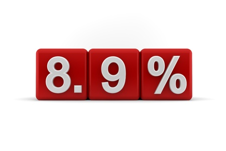 8 9: 3d illustration of 8 9 percent embossed in raised white numbers on a line of red cubes on a white studio background