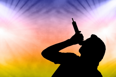 Illustration of a male singer with a microphone silhouetted against colourful concert or party lights illustration