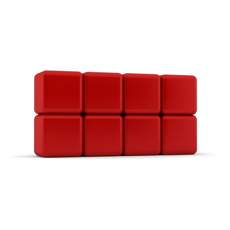 sides: Eight 3d simple red cubes with blank faces and equilateral sides that are bevelled , rounded and shaped stacked one on top of the other in a 2x4 formation on a white background