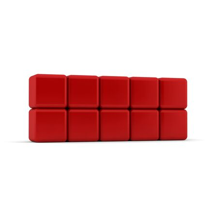 Ten 3d simple red cubes with blank faces and equilateral sides that are bevelled , rounded and shaped stacked one on top of the other in a 2x5 formation on a white background photo
