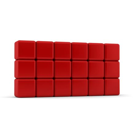 eighteen: Eighteen 3d simple red cubes with blank faces and equilateral sides that are bevelled , rounded and shaped stacked one on top of the other in a rectangular 3x6 formation on a white background