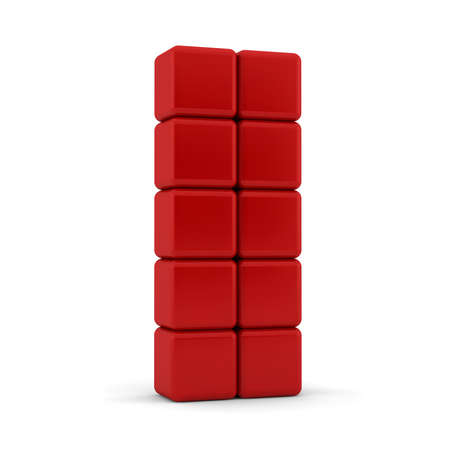 3d render of ten blank red equilateral cubes with bevelled , shaped and rounded edges and corners stacked in an angled 5x2 formation one on top of each other in a towerl on a white background photo