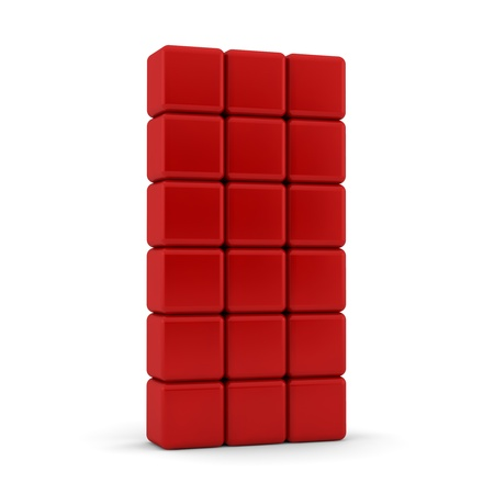 eighteen: Eighteen 3d blank red equilateral cubes with rounded bevelled edges and corners in stacked formation 6x3 on top of each other on a white background with feint shadow