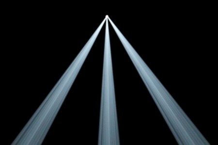 divergent: Background illustration of three divergent symmetrical white spotlight beams from a single light source at the centre top shining in smoky darkness