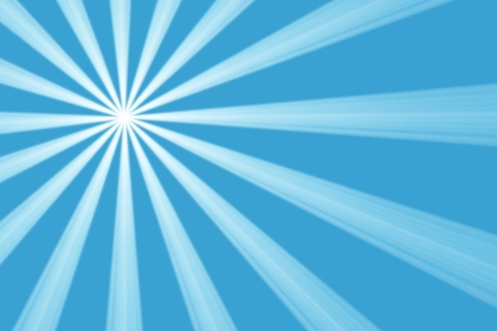 Sixteen radiating symmetrical white spotlight beams from a single light source offset towards the left top corner shining in smoky atmosphere against a blue background photo