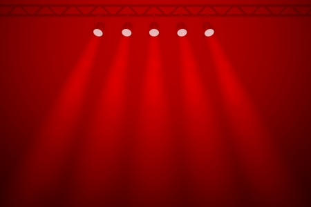 Line of five red individual symmetrical spotlights shining down through a smoky haze against the rich red background of a disco, nightclub, or party venue