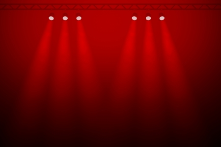Six individual red spotlights on a red background in two diverging groups of three shining through a smoky atmosphere towards a a darkened empty foreground photo
