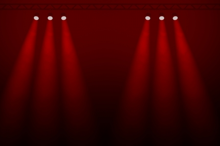 Six red spotlights in two diverging groups of three symmetrically arranged with a central gap shining through a smoky darkness against a red background photo