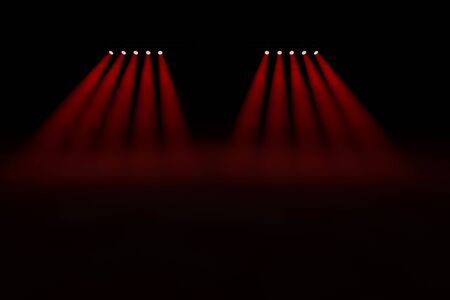 ten empty: Ten symmetrical diverging red spotlights in two groups of five shining through the smoky darkness onto an empty stage creating a pool of red illumination