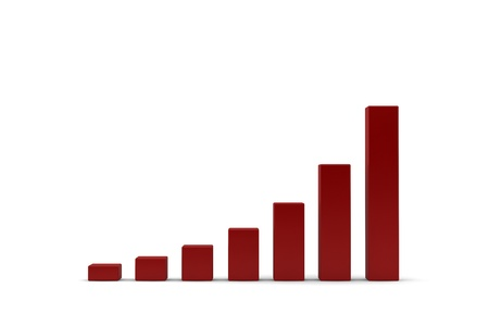 Pictogram illustration showing an increasing bar graph with moderately accelerating growth or performance returns over time resulting in a concave growth trend Stock Photo