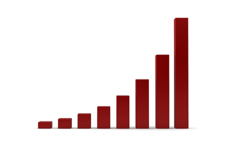 Pictogram illustration of an ascending bar graph with accelerating growth or performance statistics giving a concave curve to the graph caused by the initial slower start