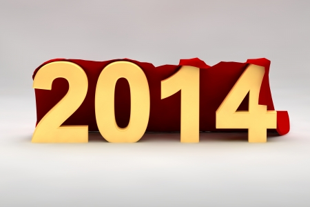2014 New Year date with 3d yellow numerals draped in luxury red fabric with copyspace above and below for your seasonal greeting photo