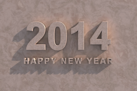marbled effect: Elegante efecto 3d m�rmol Feliz A�o Nuevo 2014 de tarjetas de felicitaci�n y n�meros en relieve y texto en una pared de m�rmol con las sombras para dar la impresi�n de la luz solar