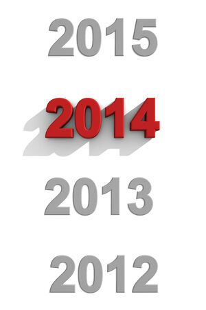 sequential: 2014 New Year sequential calendar dates with simple stylish 3d numerals on white with 2102, 2013 and 2015 in grey and 2014 in a distinctive red with a shadow
