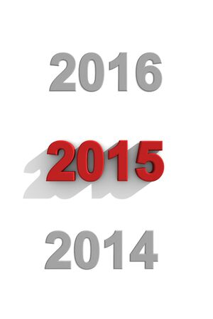 sequential: Illustration of the years 2014, 2015 and 2016 written with 3d raised letters on a white background