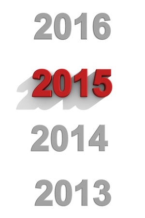 sequential: 2015 New Year sequential calendar dates with simple stylish 3d numerals on white with 2013, 2014 and 2016 in grey and 2015 in a distinctive red with a shadow