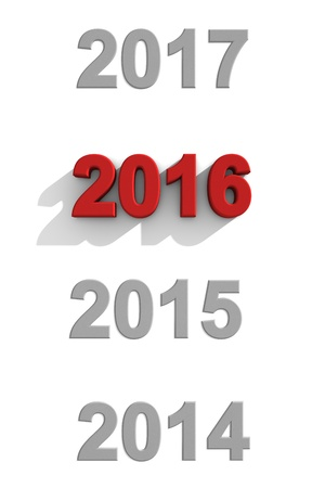 2016 New Year sequence with past and future years in grey numerals on a white background and 2016 in 3d red numerals with shadow for a fresh greeting card design for your seasons greetings photo