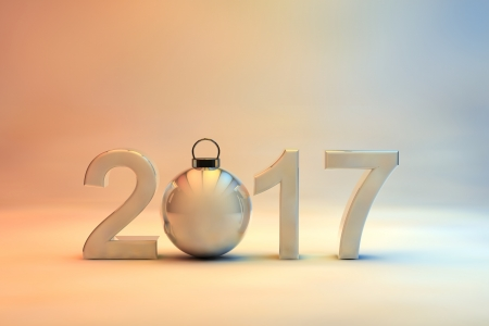 seasonal greeting: 2017 New Year date in 3d numerals incorporating a shiny Christmas bauble on a soft muted background graduating from blue through to orange with copyspace for your seasonal greeting