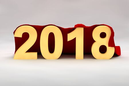 seasonal greeting: 2018 New Year in 3d yellow numerals draped in a rich red fabric from behind with copy space for your seasonal greeting