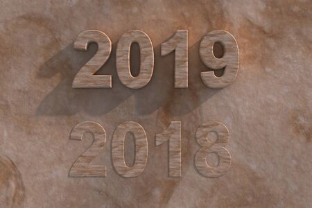 Sandstone 2019 New Year in 3d numerals with shadow and a faded out 2018 below on a textured sandstone effect background Stock Photo - 18305624